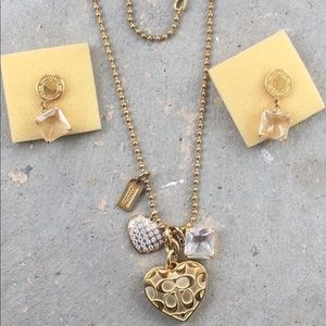 Authentic Coach necklace and earrings set